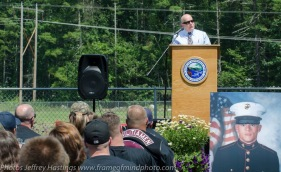 Peter Petrigno, Masters of Ceremony, addresses veterans of the Second Battle of Fallujah Reunion, 1st Battalion, 3rd Marine Regiment, honoring fallen Marine Cpl. Timothy Gibson, Merrimack, July, 2016